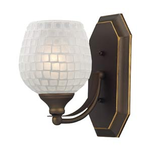 White Mosaic Aged Bronze One-Light Bath Fixture