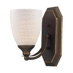 Aged Bronze One-Light Bath Light with White Swirl Glass