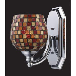 Multi Mosaic Polished Chrome One-Light Bath Fixture