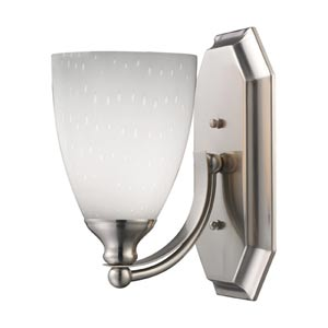 Satin Nickel One-Light Bath Light with Simply White Glass