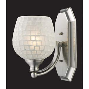 White Mosaic Satin Nickel One-Light Bath Fixture
