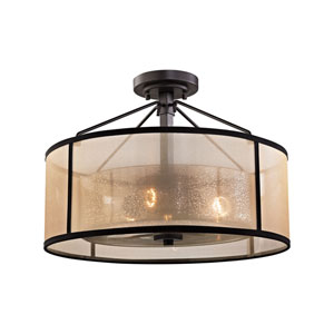 Diffusion Oil Rubbed Bronze 18-Inch Three-Light Semi-Flush Mount