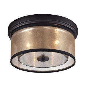 Diffusion Oil Rubbed Bronze Two Light Flush Mount Fixture