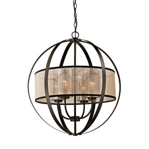 Diffusion Oil Rubbed Bronze 24-Inch Four-Light Chandelier
