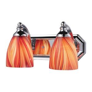 Polished Chrome Two-Light Bath Light with Multi Glass
