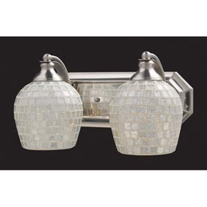 Silver Mosaic Satin Nickel Two-Light Bath Fixture