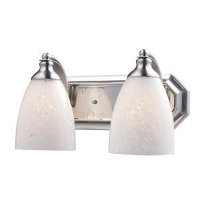 Satin Nickel Two-Light Bath Light with Snow White Glass