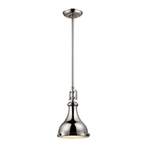 Rutherford Polished Nickel 9-Inch One-Light Pendant