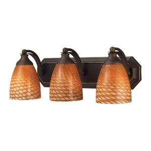 Aged Bronze Three-Light Bath Light with Coco Glass