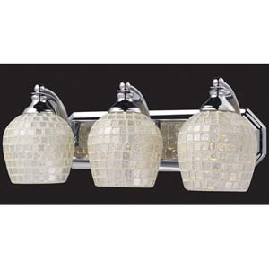 Silver Mosaic Polished Chrome Three-Light Bath Fixture