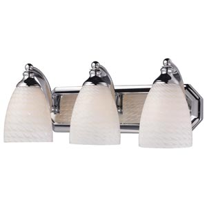 Polished Chrome Three-Light Bath Light with White Swirl Glass