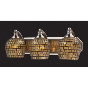 Gold Mosaic Satin Nickel Three-Light Bath Fixture