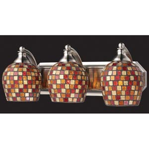 Multi Mosaic Satin Nickel Three-Light Bath Fixture