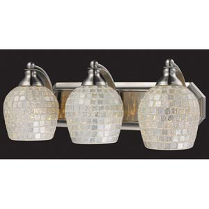 Silver Mosaic Satin Nickel Three-Light Bath Fixture