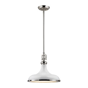 Rutherford Polished Nickel 15-Inch One-Light Pendant with White Shade