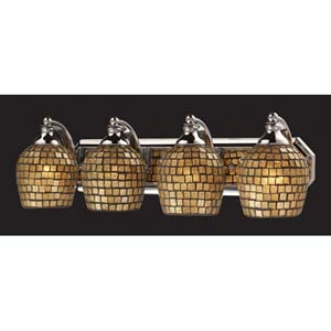 Gold Mosaic Aged Bronze Four-Light Bath Fixture