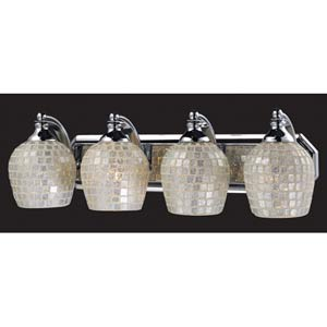 Silver Mosaic Aged Bronze Four-Light Bath Fixture