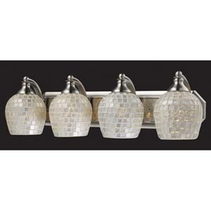 Silver Mosaic Satin Nickel Four-Light Bath Fixture