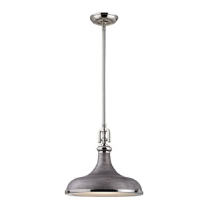 Rutherford Polished Nickel 15-Inch One-Light Pendant with Weathered Zinc Shade