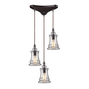 Menlow Park Oiled Bronze 10-Inch Three Light Pendant
