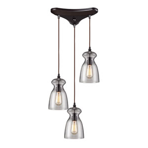 Menlow Park Oiled Bronze 11-Inch Three Light Pendant