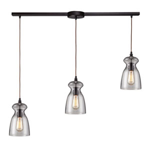 Menlow Park Oiled Bronze Three Light Pendant with Clear Blown Glass Shade