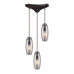 Menlow Park Oiled Bronze 12-Inch Three Light Pendant