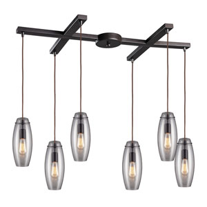 Menlow Park Oiled Bronze 12-Inch Six Light Pendant