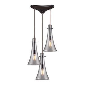 Menlow Park Oiled Bronze 16-Inch Three Light Pendant