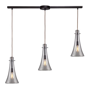 Menlow Park Oiled Bronze 16-Inch hree-Light Pendant with Clear Blown Glass Shade