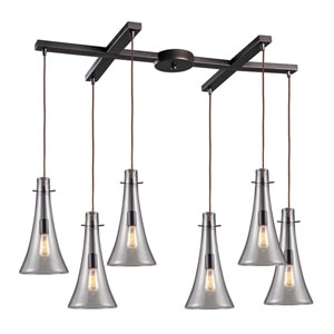 Menlow Park Oiled Bronze 16-Inch Six Light Pendant