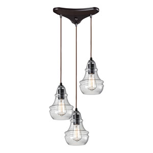 Menlow Park Oiled Bronze Three-Light Pendant