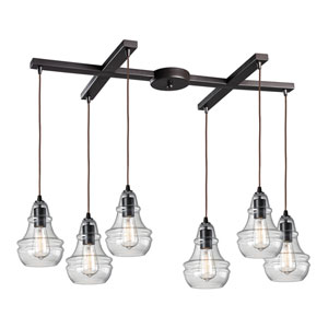Menlow Park Oiled Bronze Six-Light Pendant with H Canopy