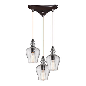 Menlow Park Oil Rubbed Bronze 10-Inch Three Light Chandelier