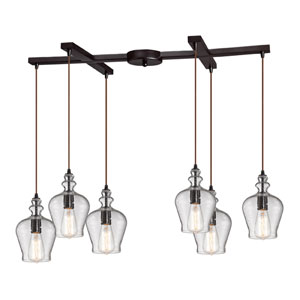 Menlow Park Oil Rubbed Bronze 10-Inch Six Light Chandelier