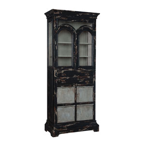 Handpainted Farmhouse Black Kitchen Display Cabinet