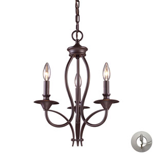 Medford Oiled Bronze Three Light Chandelier