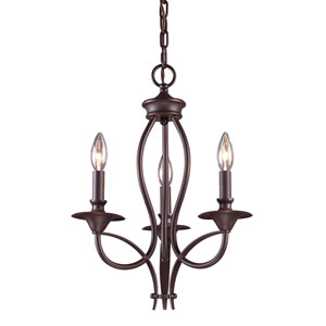 Medford Oiled Bronze 19-Inch Three Light Chandelier