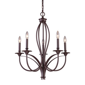 Medford Oiled Bronze Five Light Chandelier