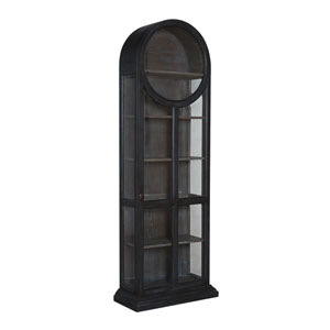 Handpainted Round Top Gray Display Cabinet