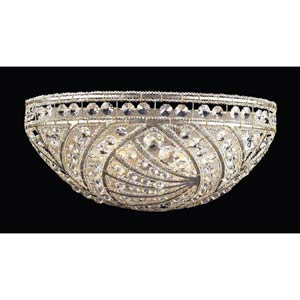 Renaissance Sunset Silver Crystal Half Moon Sconce