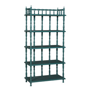 Handpainted Spindle Green Tall Shelf