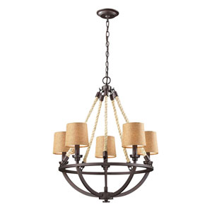 Natural Rope Aged Bronze Five Light Chandelier