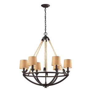 Natural Rope Aged Bronze 32-Inch Six Light Chandelier