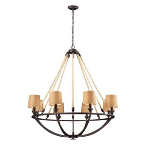 Natural Rope Aged Bronze 44-Inch Six Light Chandelier