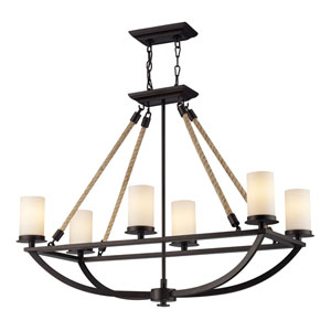 Natural Rope Aged Bronze Six-Light Chandelier