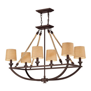Natural Rope Aged Bronze Six Light Billiard and Island Light