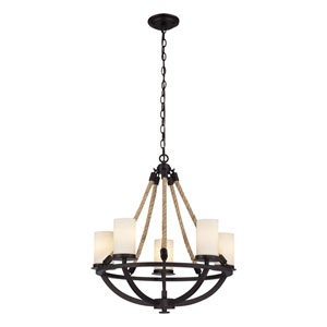 Natural Rope Aged Bronze Five-Light Chandelier