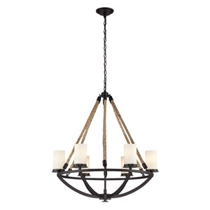 Natural Rope Aged Bronze Six Light Chandelier