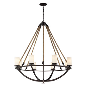 Natural Rope Aged Bronze Eight-Light Chandelier